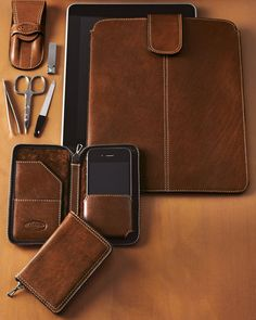 """Antique Cognac"" Man's Leather Accessories"