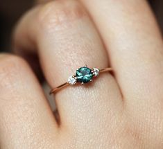 Items similar to Sapphire Diamond Engagement Ring, Teal Sapphire Ring, or Solid Gold on Etsy Purple Engagement Rings, Green Sapphire Engagement Ring, Green Sapphire Ring, Alexandrite Engagement Ring, Alexandrite Ring, Classic Engagement Rings, Three Stone Engagement Rings, Three Stone Rings, Engagement Rings With Sapphires
