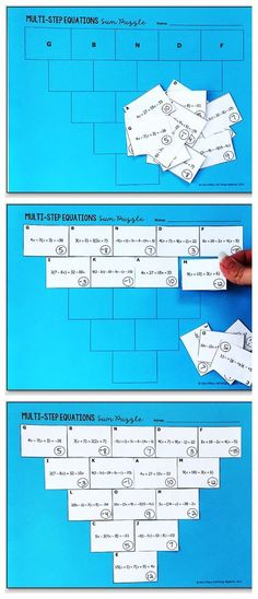 Multi-Step Equations Pyramid Sum Puzzle Students will practice solving multi-step equations with distribution and variables on both sides with this triangle sum puzzle activity.