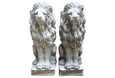 Garden Lion Statues, Pair