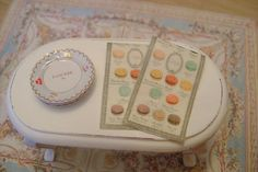 Set of 2 Macaron LADUREE TEA TOWELS  -  Dollhouse Miniature Kitchen 1/12 Scale. $15.00, via Etsy.