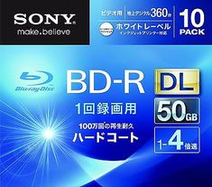 Sony Blu Ray 50 GB BD-R Blu-Ray 2 Layer Bluray Printable 10 Discs 10BNR2VGPS4