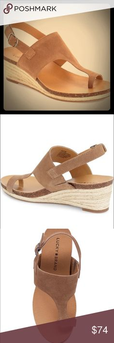 """Lucky Brand ESPADRILLE WEDGE SANDAL NIB Braided ESPADRILLE trim wraps the low wedge and platform of a toe sandal secured by an adjustable sling back strap. Buckle closure with hidden elastic inset. 2 1/4"""" heel Lucky Brand Shoes Wedges"""