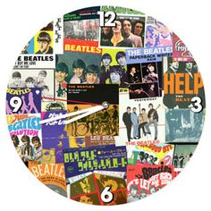 This vintage style wall clock looks good in any game room, bar, or music room. Made of wood, printed with a collage of Beatles album covers. Cordless clock requires 1 AA battery (not included). Beatles Album Covers, Beatles Albums, Wall Clock Collage, Beatles Gifts, Beatles Poster, The Beatles Help, I Love Rain, Wood Clocks, Wood Home Decor