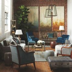 William Peace Living Room for Ballard is relaxed and formal at the same time. Plenty of seating in a small space; the color palette is important.