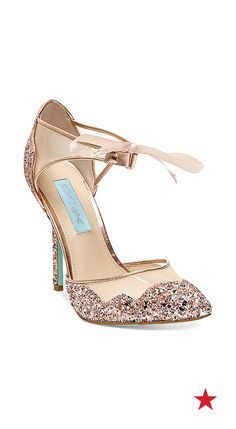 A cute pair of pumps with a splash of glitter? Blue by Betsey Johnson Stela evening sandals Cute Shoes, Me Too Shoes, Shoe Boots, Shoes Sandals, Sparkly Sandals, White Sandals, Blue By Betsey Johnson, Special Occasion Shoes, Evening Sandals