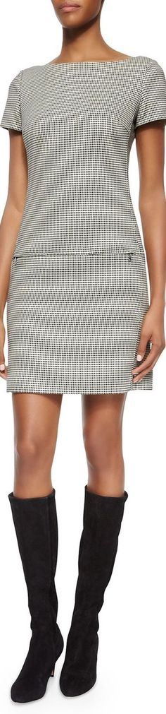 Ralph Lauren Black Label Short-Sleeve Houndstooth Sheath Dress