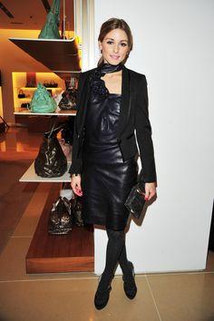 The blazer takes the sleeveless black leather dress into winter...