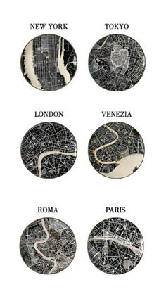 "Seletti ""The World Dinnerware""       Map plates!  YES!"