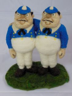 Needle Felted Tweedle Dee and Tweedle Dum