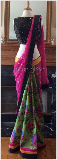 Printed raw silk saree with georgette pallu. Indian Wedding Outfits, Pakistani Outfits, Indian Outfits, Punjabi Dress Design, Indian Designer Sarees, Indian Sarees, Desi Clothes, Indian Clothes, Bridesmaid Saree