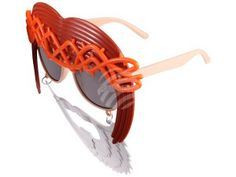 F-044 Fun Party Brille Form: Hippie Farbe: braun, weiß