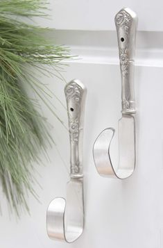 (This might also make a door handle.) Ornate & Upcycled Silver Hooks, via Etsy.