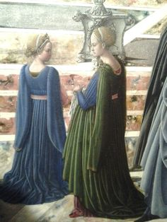 Detail from a painting at the MFA (Boston). Fra Carnevale (Bartolomeo di Giovanni Corradini), Presentation of the Virgin at the Temple. Renaissance Garb, Renaissance Fashion, Italian Renaissance, Medieval Costume, Medieval Dress, Medieval Clothing, 15th Century Fashion, 15th Century Clothing, Italian Outfits
