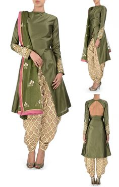 SVA BY SONAM & PARAS MODI Olive Green Kurta and Printed Dhoti Pant Set