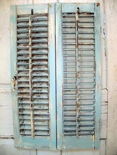 Distressed wooden shutter French blue shabby by AnitaSperoDesign, $52.00