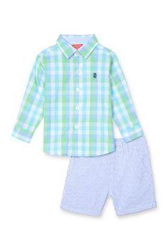 IZOD Blue Eyes 2-Piece Button-Front Shirt and Seersucker Short Set Toddler Boys
