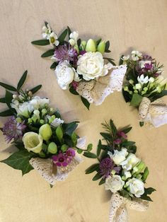 pretty corsages with lace bows.