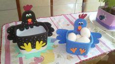 pote de sorvete decorado com e.v.a - galinha porta ovos