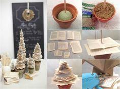 Weihnachtsdeko selber basteln papier-mini-weihnachtsbaume