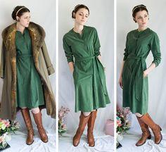 70s - Avocado Fields - green wrap style homespun long sleeve suede cloth dress