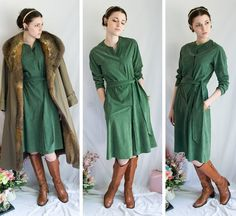 70s - Avocado Fields - green wrap style homespun long sleeve suede cloth dress