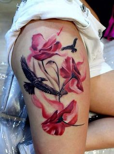 Flower thigh tattoo, I would want purple and pink flowers with blue swallows flying instead of black birds