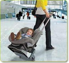 BRICA Roll 'n Go Car Seat Transporter....This is such a great idea! Attaches to your car seat to make getting through the airport with kids, luggage and car seat a million times easier