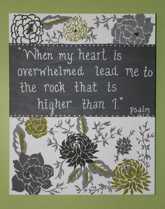 Custom Personalized Canvas. Scripture Verse Painting. Psalm 61:2. Bible Verse Art. $48.00, via Etsy.