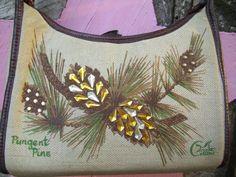 Enid Collins Pungent Pine Purse, large canvas shoulder bag version