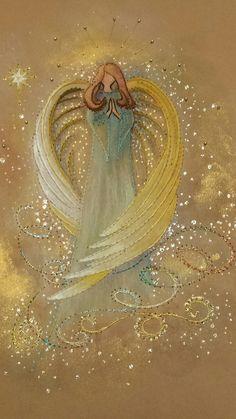 Christmas Angels, Christmas Art, Angel Artwork, Angel Paintings, I Believe In Angels, Angel Pictures, Christmas Paintings, Anime Angel, Painted Rocks