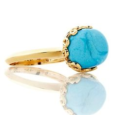 Heritage Gems Sleeping Beauty Turquoise Nugget Vermeil Ring at HSN.com