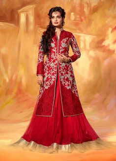 Diya Mirza jacket style Red long anarkali dress in net and silk A15326
