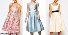midi prom skater dress in pale blue satin in lilac jacquard and in cream