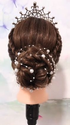 Beautifully braided hairstyle to make you look even more special on your special day 👰✨💕 Braided Ponytail Hairstyles, Easy Hairstyles For Long Hair, Bride Hairstyles, Hair Updo, Easy And Beautiful Hairstyles, Princess Hairstyles, Hair Up Styles, Medium Hair Styles, Hair Style Vedio