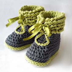 Crochet pattern baby booties shoes unisex boys or girls by ketzl Green and grey Avalon 10 ply cotton yarn by Morris and Sons Worsted weight Satin ribbon laces. Winter boots for baby
