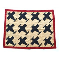 vintage quilt airplanes black white red 27x37 by ElizabethRosenArt