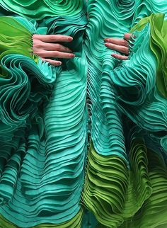 Creation by Maurizio Galante, French Couture 2012 Singapore fashion show manipulated pleats and ruffles