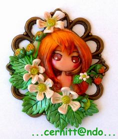 cammeo with a polymer clay decoration made by fimo soft and professional