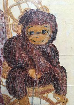 Monkey in oil pastel on paper. 1981 - from school art! Art School, Monkey, Charcoal, Pencil, Pastel, Oil, Painting, Jumpsuit, Cake