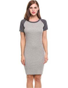 Gray O-Neck Short Sleeve Patchwork Pullover Elastic T-Shirt Casual Dress