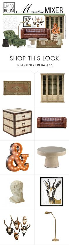 """Masculine Mixer"" by reddotdaily ❤ liked on Polyvore featuring interior, interiors, interior design, home, home decor, interior decorating, Jayson Home, Belle Maison, Bungalow 5 and Vintage Marquee Lights"
