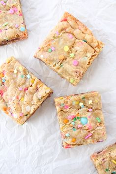 Spring Funfetti Blondies (From Scratch) – Elisabeth and Butter Brownie Juneann's Chewy Bisquick Brownies Spring Desserts, Fun Desserts, Delicious Desserts, Dessert Recipes, Spring Treats, Dessert Bars, Spring Food, Bar Recipes, Holiday Desserts