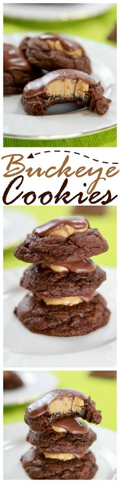 SO decadent! Chewy fudge brownie cookies, topped with peanut butter icing, and a milk chocolate drizzle.
