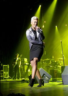 """Emeli Sande in the Muubaa SS '13 Fornas Ombre Biker in Ash / have you heard her sing?? such a voice. <3 / """"I've said all my goodbyes to ego, I gambled all I got - there's no plan B. it's the first time that I've learned to let go. it's the only place I feel, only place I feel like me."""""""