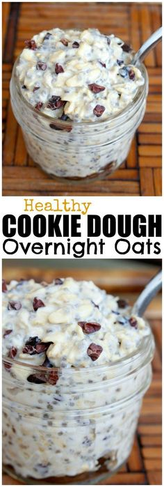 HEALTHY Cookie Dough Overnight Oats! I have such a sweet tooth and rarely have savory dishes for breakfast. That's why I LOVE this recipe, because the sweet chocolate and creamy cashew butter satisfy my sweet tooth while providing healthy fats and protein! Really, who doesn't want to eat cookie dough for breakfast?!