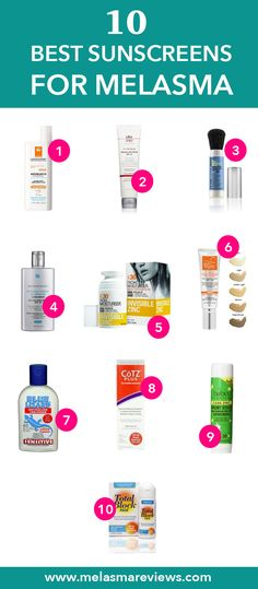 List of the best sunscreens to use on your face for melasma. Also check out the blog post on Melasma Diaries for the ingredients you also want to avoid!