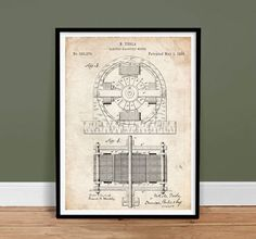 """Tesla Motor Poster 18x24"""" 1888 Electric Motor Patent Invention Art Print by StevesPosterStoreUSA on Etsy"""