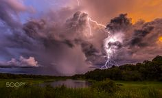 #Lightning pic of the Day! #GoldenHour on #Fire by: Justin Battles