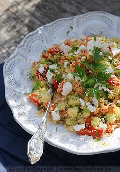 Recipe with picture for couscous salad with sheep's cheese - Essen und trinken - Salat Vegetable Recipes, Vegetarian Recipes, Cooking Recipes, Healthy Recipes, Soup Appetizers, Appetizer Salads, Food To Go, Food And Drink, Clean Eating